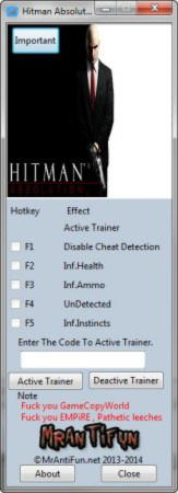 Hitman: Absolution Trainer +4 v1.0.447.0 {MrAntiFun}