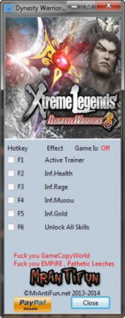Dynasty Warriors 8: Xtreme Legends Trainer +5 v1.0 {MrAntiFun}