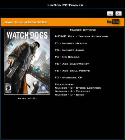Watch Dogs Trainer +8 v1.01 {LinGon}