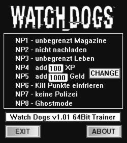 Watch Dogs Trainer +8 v1.01 {dR.oLLe}