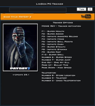 Payday 2 Trainer +17 Update 29.1 {LinGon}