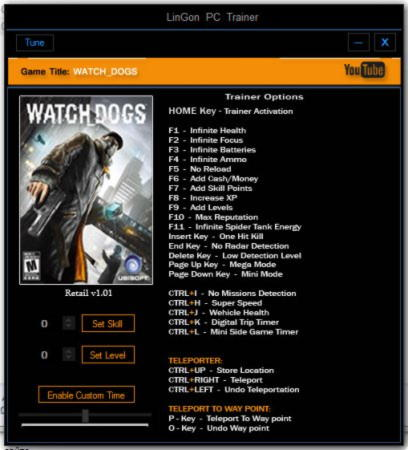 Watch Dogs Trainer +26 v1.01 {LinGon}