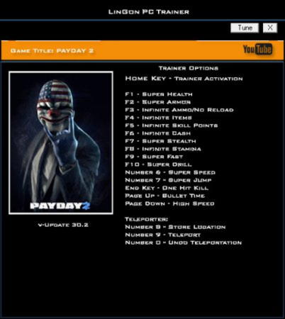 Payday 2 Trainer +17 Update 30.2 {LinGon}