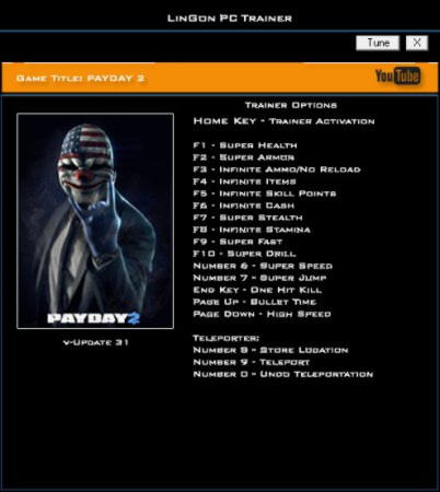 Payday 2 Trainer +17 Update 31 {LinGon}