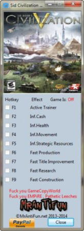 Sid Meier's Civilization 5 Trainer +8 v1.0.3.144: DX11 {MrAntiFun}