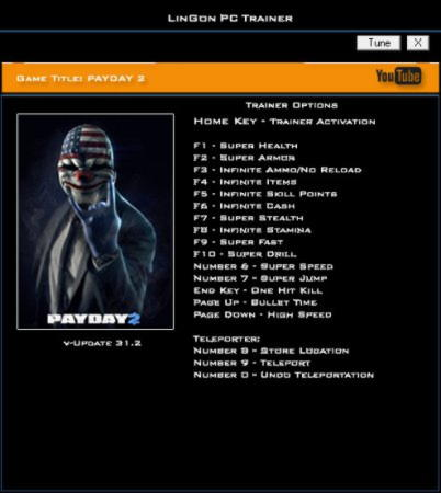 Payday 2 Trainer +17 Update 31.2 {LinGon}