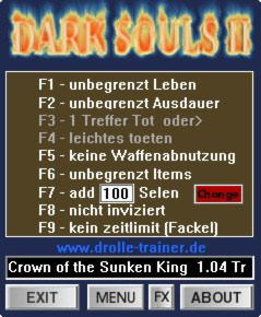 Dark Souls 2 Crown of the Sunken King Trainer +9 v1.04 {dR.oLLe}