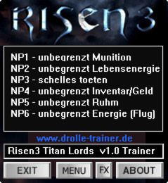 Risen 3: Titan Lords Trainer +6 v1.0 {dR.oLLe}