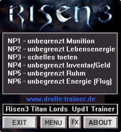 Risen 3: Titan Lords Trainer +6 Update 1 {dR.oLLe}