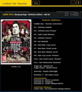 Sleeping Dogs: Definitive Edition Trainer +18 v1.0 x64 Bit {LinGon}