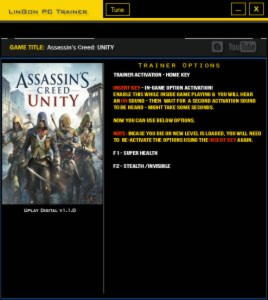 Assassin's Creed: Unity Trainer +2 v1.1.0 {LinGon}