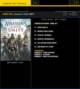 Assassin's Creed: Unity Trainer +8 v1.2.0 {LinGon}
