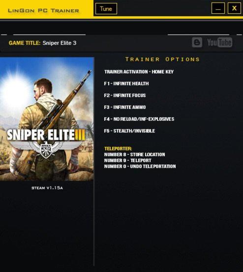 Sniper Elite 3 Trainer +7 V1.15a LinGon