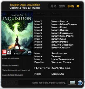 Dragon Age: Inquisition Trainer +13 Update 2 {FLiNG}