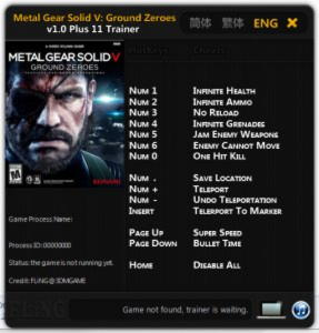 Metal Gear Solid 5: Ground Zeroes Trainer +11 v1.0 {FLiNG}