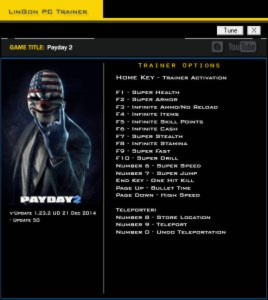 Payday 2 Trainer +17 v1.23.2 Update 50 {LinGon}