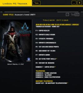 Assassin's Creed: Unity Trainer +13 v1.5.0 {LinGon}