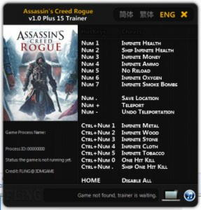 Assassin's Creed: Rogue Trainer +15 v1.0 {FLiNG}