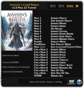 Assassin's Creed: Rogue Trainer +22 v1.0 {FLiNG}
