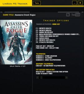 Assassin's Creed: Rogue Trainer +14 v1.01 {LinGon}
