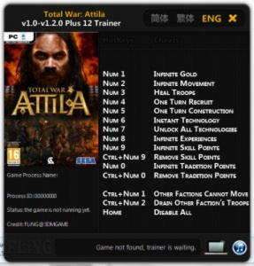 Total War: Attila Trainer +12 v1.0 - v1.2.0 {FLiNG}