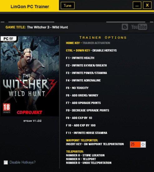The Witcher 3: Wild Hunt Trainer +14 v1.02 LinGon ...