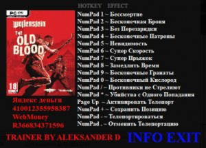 Wolfenstein: The Old Blood Trainer +13 v1.0 {Aleksander D}