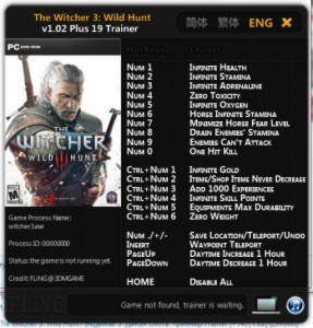 The Witcher 3: Wild Hunt  Trainer +19 v1.01 - 1.02 {FLiNG}