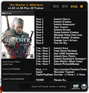 The Witcher 3: Wild Hunt Trainer +20 v1.02 - 1.06 {FLiNG}