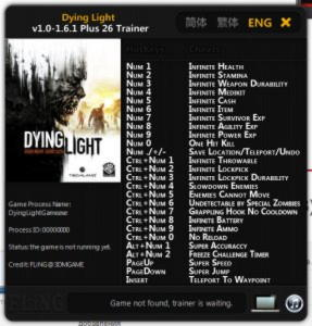 Dying Light Trainer +26 v1.0 - 1.6.1 {FLiNG}