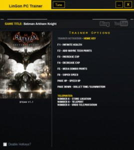 Batman: Arkham Knight Trainer +10 v1.1 {LinGon}