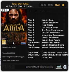 Total War: Attila Trainer +12 v1.0 - v1.3.0 {FLiNG}