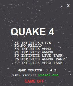 Quake 4 Trainer +7 v1 4 2 LIRW / GHL - download cheats, codes, trainers