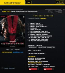 Metal Gear Solid V: The Phantom Pain Trainer  +19 v1.04 {LinGon}