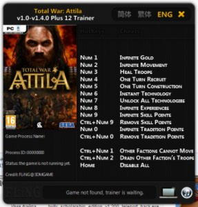 Total War: Attila Trainer +12 v1.0 - v1.4.0 {FLiNG}