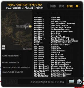 Final Fantasy Type-0 HD Trainer +31 v1.0 Update 3 {FLiNG}