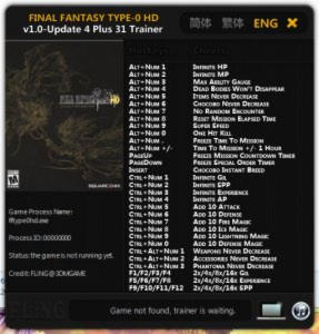 Final Fantasy Type-0 HD Trainer +31 v1.0 Update 4 {FLiNG}
