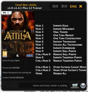 Total War: Attila Trainer +12 v1.0 - v1.4.1 {FLiNG}