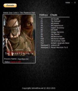 Metal Gear Solid 5: The Phantom Pain Trainer +14 v1.04 {MrAntiFun}