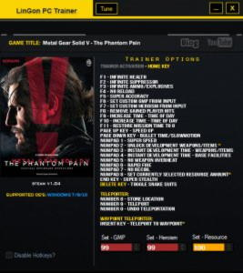Metal Gear Solid V: The Phantom Pain Trainer  +26 v1.04 Update 13.10.2015 {LinGon}
