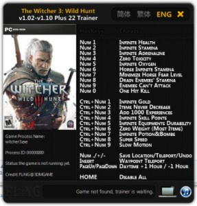 The Witcher 3: Wild Hunt Trainer +22 v1.02 - 1.10 {FLiNG}