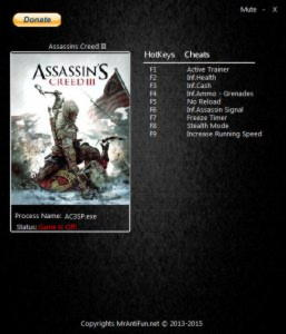 Assassin's Creed 3 Trainer +8 1.06 Update 10.09.15 {MrAntiFun}
