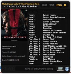 Metal Gear Solid 5: The Phantom Pain Trainer +22 v1.0.1.0 - 1.0.4.3 {FLiNG}