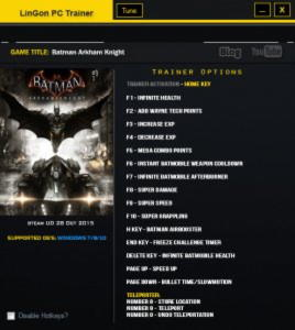 Batman: Arkham Knight Trainer +17 Update 28.10.2015 {LinGon}