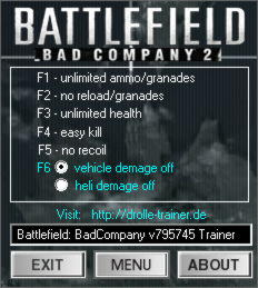 Battlefield: Bad Company 2 Trainer +6 v795745 {dR.oLLe}