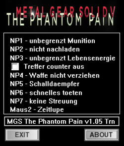 Metal Gear Solid 5: The Phantom Pain TrainerTrainer +7 v1.05 {dR.oLLe}