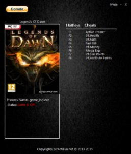 Legends Of Dawn Reborn TrainerTrainer +7 v2.75 64Bit {MrAntiFun}