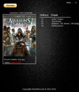 Assassin's Creed: Syndicate Trainer +6 v1.12 {MrAntiFun}