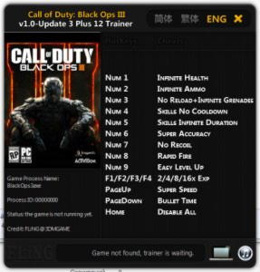 Call of Duty: Black Ops 3 Trainer +12 v1.0 - Update 3 {FLiNG}