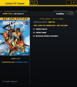 Just Cause 3 Trainer +3 v1.01 {LinGon}